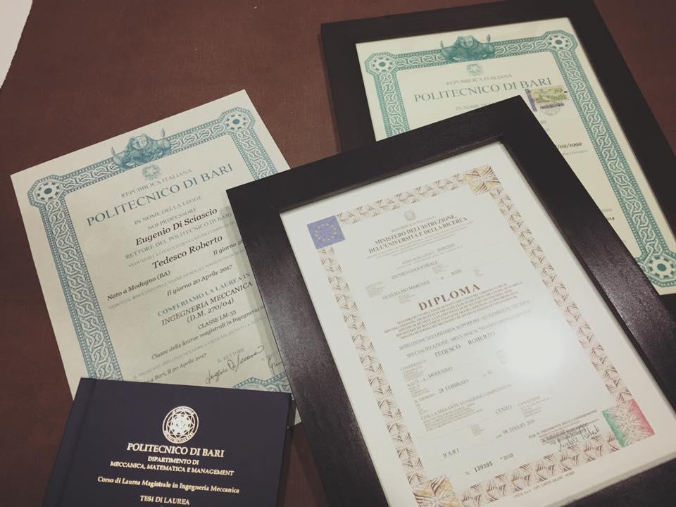 Lauree e diploma Roberto Tedesco