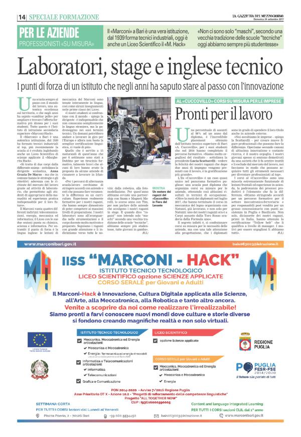 """Ritaglio """"La gazzetta del Mezzogiorno"""" del 24.9.2017"""