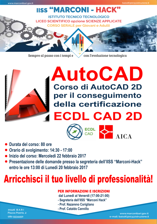 Corso AutoCAD Serale con certificazione AICA
